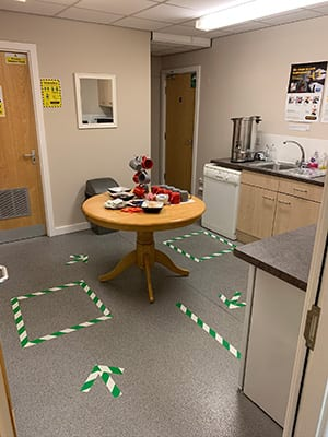 markers on floor for safe social distancing